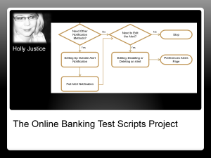 A technical writing project describing online banking software through flow charts, test scripts and detailed instructions.
