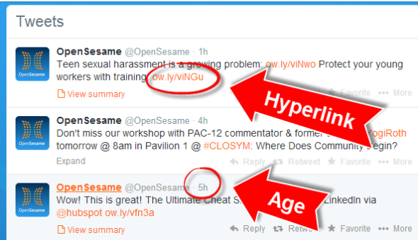 Example of tweet hyperlinks and how long since the tweet was posted.