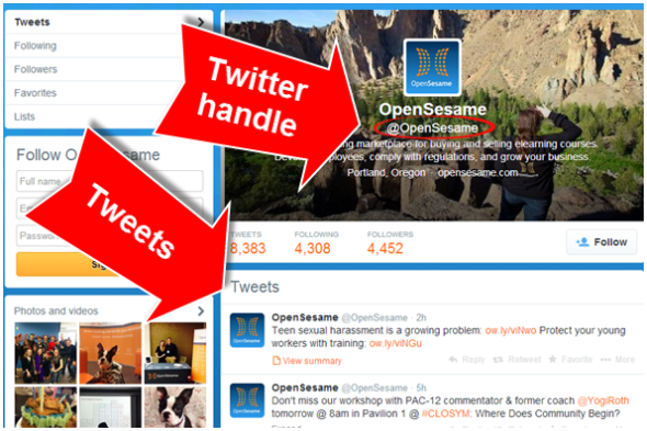 Open Sesame's Twitter Profile Page with @OpenSesame Twitter Handle and Tweets to and from the business